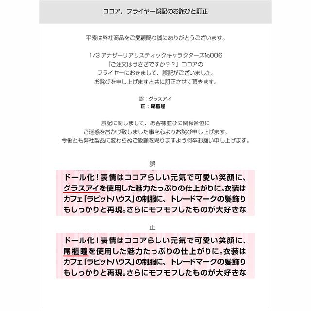 1/3アナザーリアリスティックキャラクターズ
